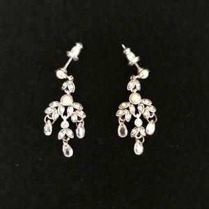Monet silver tone pearl & rhinestone earrings